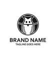 circular black owl logo vector image vector image