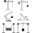 collection crane setup icons in industry vector image vector image