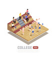 college gym isometric composition vector image vector image
