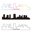 Columbus skyline linear style with rainbow vector image vector image