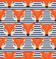 cute foxes on striped blue scandinavian style vector image vector image