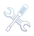 degraded outline industry screwdriver and wrench vector image vector image