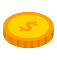 dollar coin icon isometric style vector image vector image