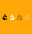 fire black and white set icon vector image vector image