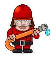 firefighter flat cartoon character design vector image