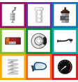 flat icon auto set of input technology metal vector image vector image