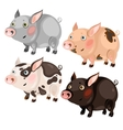Four spotted cartoon pigs different colors vector image vector image