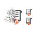 fractured dot halftone certified scroll document vector image
