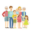 full family with parents grandparents and two vector image
