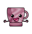grated happy coffee cup kawaii with arms vector image vector image