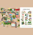 hand drawn small town concept vector image