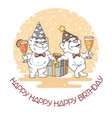 happy birthday card with two cute bears vector image vector image