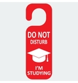 Hotel tag do not disturb with studing cap vector image