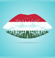 hungary flag lipstick on the lips isolated on a vector image vector image