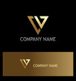 letter v triangle gold logo vector image
