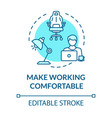 make working comfortable turquoise concept icon vector image vector image