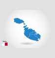 malta map design with 3d style blue malta map and vector image vector image