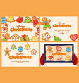 merry christmas oatmeal cookie banner set vector image
