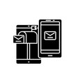 mobile direct marketing black icon sign on vector image vector image