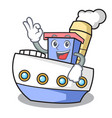 okay ship character cartoon style vector image vector image