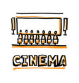 people sitting in cinema hall word cinema vector image vector image