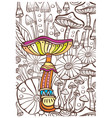 picture with mushrooms antistress sketch drawing vector image