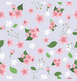pink and white flower with green leaf seamless vector image vector image