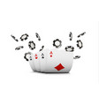 playing cards and poker chips fly casino concept vector image vector image