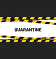 quarantine banner yellow tape stripes cross vector image vector image