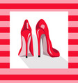 red sexy shoes on pink background vector image vector image