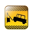 road sign square with tow truck vector image