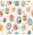 seamless pattern with easter symbols and vector image vector image