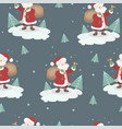 seamless pattern with santa claus and birds vector image vector image