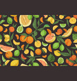 seamless repeatable pattern with mix citrus vector image