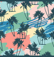 seamless tropical pattern with palms and artistic vector image vector image