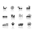 set logistic icons with mirror reflection vector image vector image