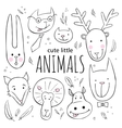Set of cute animal faces sketch style vector image