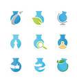 set of lab bottle logo combination bulb and flask vector image vector image
