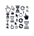set of retro cursor signs made in pixel art style vector image
