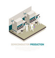 silicon factory isometric background vector image vector image