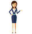 smiling flat cartoon business office woman in suit vector image