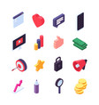 social marketing isometric icons media message vector image
