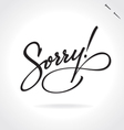 SORRY original custom hand lettering vector image vector image