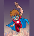super boy flying sky background vector image vector image