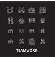 teamwork editable line icons set on black vector image vector image