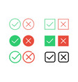 tick check mark and decline cross icons vector image