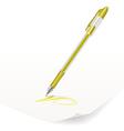 yellow ballpoint pen vector image vector image