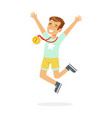 young happy boy with a first place medal kid vector image vector image