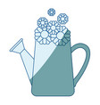 blue shading silhouette of watering can and vector image