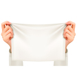 Hands holding a piece of cloth - banner vector image